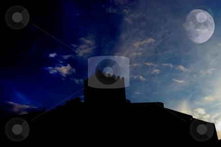 Castle stock photo, An ancient portuguese castle and the moon by Rui Vale de Sousa