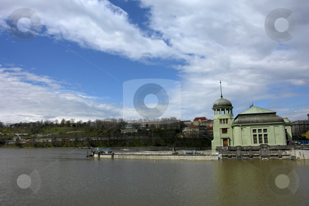 Prague stock photo, Ancient castle in the river at prague town by Rui Vale de Sousa