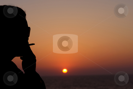 Smoke stock photo, Silhouette at sunset by Rui Vale de Sousa