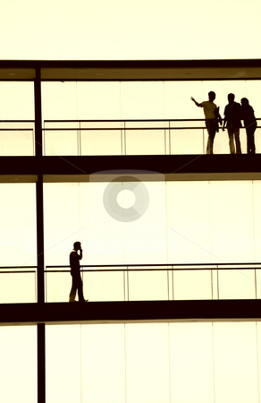 People stock photo, People inside the modern building in silhouette by Rui Vale de Sousa