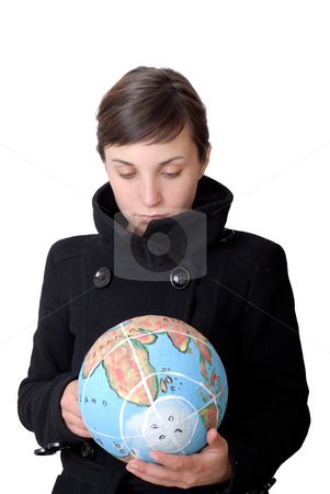Globe stock photo, Pretty young woman holding the world in her hand by Rui Vale de Sousa