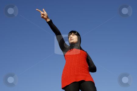 Girl stock photo, Young casual woman with the sky as background by Rui Vale de Sousa