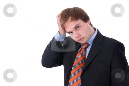 Headache stock photo, Worried business man portrait in a white background by Rui Vale de Sousa