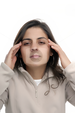 Headache stock photo, Young casual woman portrait with a headache by Rui Vale de Sousa
