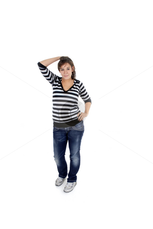Isolated stock photo, Young woman portrait in a white background by Rui Vale de Sousa