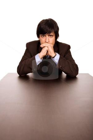 Thoughts stock photo, Young business man on a desk, isolated on white by Rui Vale de Sousa