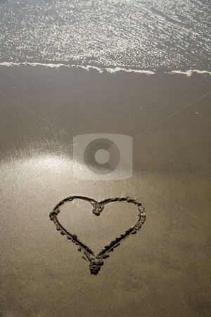 Heart stock photo, Draw heart in the wet sand at the beach by Rui Vale de Sousa