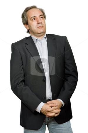 Mature stock photo, Mature casual man portrait in white background by Rui Vale de Sousa