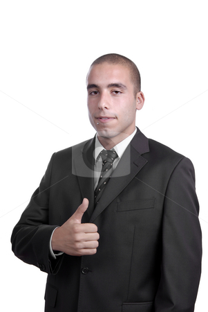 Thumb up stock photo, Young business man showing thumb up isolated by Rui Vale de Sousa