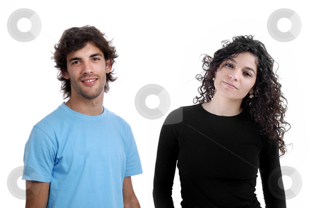 Young stock photo, Young couple together portrait isolated on white by Rui Vale de Sousa