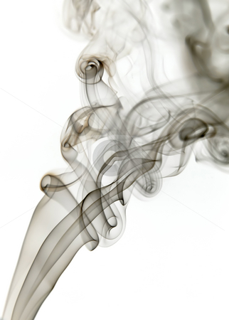 Smoke stock photo, Dark smoke from a cigarrette in white background by Rui Vale de Sousa