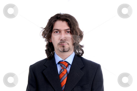 Bored stock photo, Bored young business man standing on white background by Rui Vale de Sousa