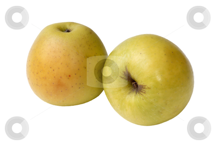 Apple stock photo, Two yellow apple isolated in white background by Rui Vale de Sousa