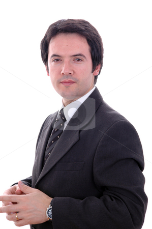 Man stock photo, Young business man portrait isolated on white by Rui Vale de Sousa