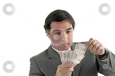 Money stock photo, Young business man a over white background by Rui Vale de Sousa
