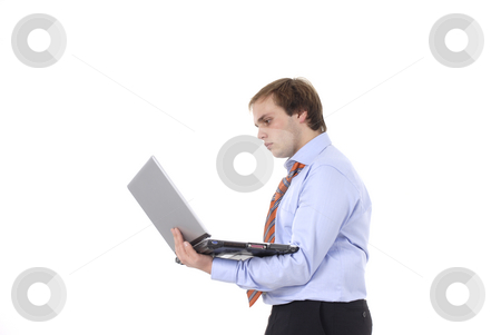 Working stock photo, Young business man working with personal computer by Rui Vale de Sousa