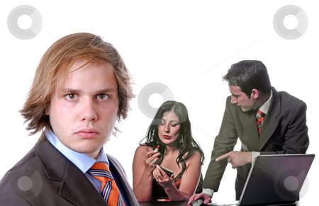 Workers stock photo, Office, boss with a couple working, focus on the left man by Rui Vale de Sousa