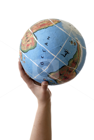 Globe stock photo, Globe in a human hand isolated on white by Rui Vale de Sousa