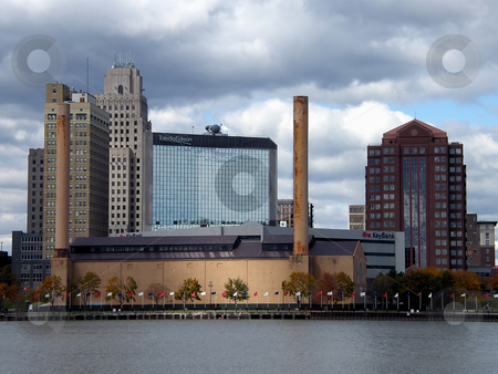 Toledo Ohio Waterfront stock photo, Toledo Ohio Waterfront, view of the old Waterworks steam plant (no longer functioning), Toledo Edison building, Key Bank. etc. Photo taken Oct. 17, 2008 by Dazz Lee Photography