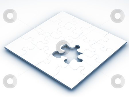 Unfinished puzzle stock photo, 3D render of a puzzle with one piece missing by Kirsty Pargeter