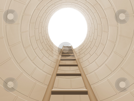 The way out stock photo, 3D render of a ladder leading out of a hole by Kirsty Pargeter