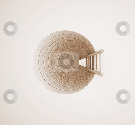 Ladder in hole stock photo, 3D render of a ladder leading down a hole by Kirsty Pargeter