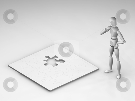 Unfinished puzzle stock photo, 3D render of someone looking at an unfinished puzzle by Kirsty Pargeter