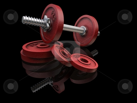 Red Weights on Black Background stock photo,  by Kirsty Pargeter