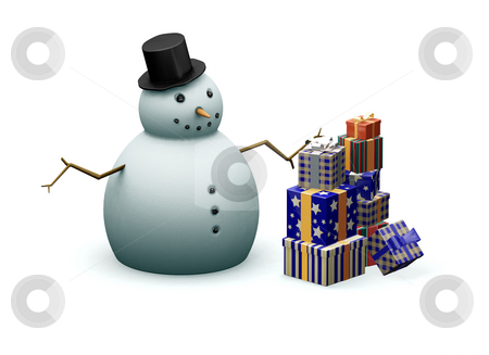 Snowman with presents stock photo, 3D render of a snowman next to a stack of Christmas presents by Kirsty Pargeter