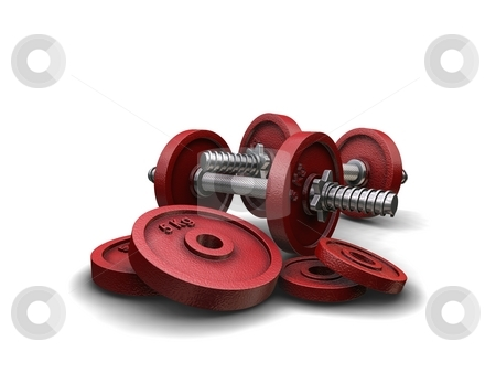 Red Weights on White Background stock photo,  by Kirsty Pargeter