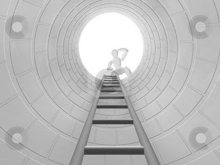 Looking down stock photo, 3D render of someone looking down a hole with a ladder by Kirsty Pargeter