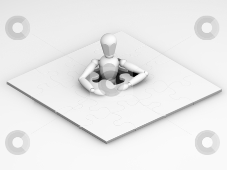 Unfinished puzzle stock photo, 3D render of someone with an unfinished puzzle by Kirsty Pargeter