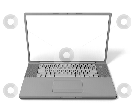 Laptop stock photo, 3D render of a laptop isolated on a white background by Kirsty Pargeter