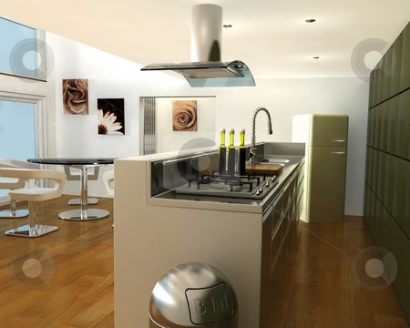Interior of a kitchen stock photo, 3D render of a contemporary kitchen by Kirsty Pargeter