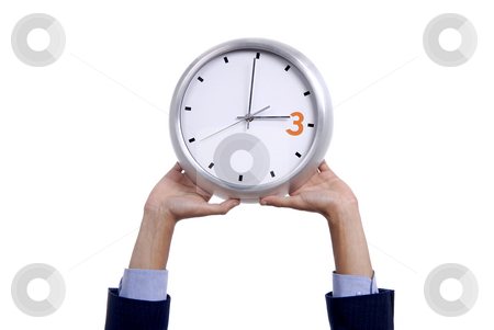 Clock stock photo, Business man with a clock isolated in white background by Rui Vale de Sousa
