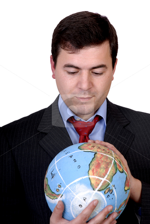 Globe stock photo, Business man holding a globe in white background by Rui Vale de Sousa