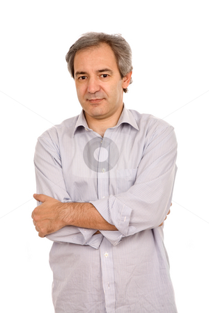 Casual stock photo, Mature casual man portrait, isolated on white by Rui Vale de Sousa