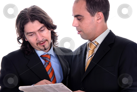 Newspaper stock photo, Two business men reading the newspaper isolated by Rui Vale de Sousa
