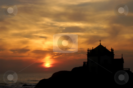 Church stock photo, Small church silhouette in the beach at sunset by Rui Vale de Sousa