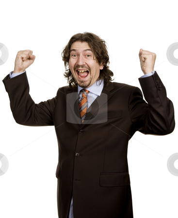 Victory stock photo, Successful business man with arms isolated on white by Rui Vale de Sousa
