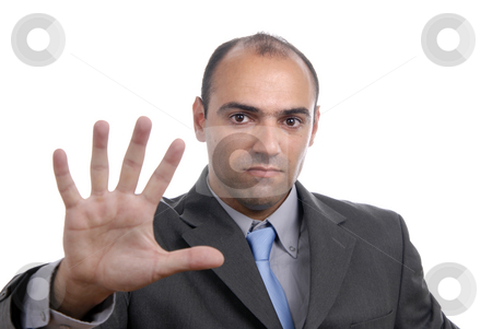 Hand stock photo, Man with hand open isolated on white by Rui Vale de Sousa