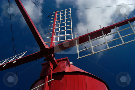 Windmill stock photo, Red azores windmill detail at faial island by Rui Vale de Sousa