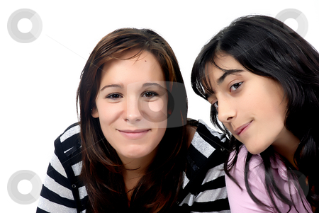 Teens stock photo, Two young casual girls portrait in studio by Rui Vale de Sousa