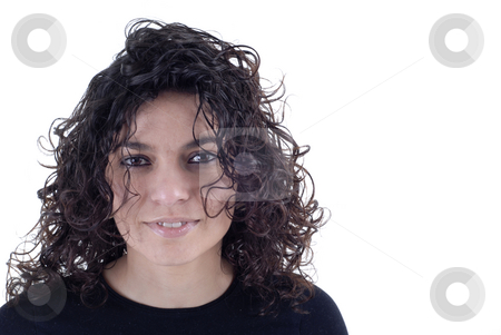 Girl stock photo, Happy young casual woman islolated on white by Rui Vale de Sousa