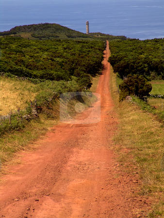 Azores stock photo, Red land road in azores island of s. Jorge by Rui Vale de Sousa