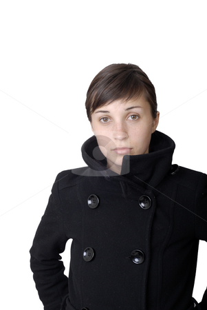 Woman stock photo, Satisfied business young woman. Isolated over white. by Rui Vale de Sousa