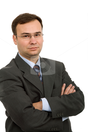 Standing stock photo, Young business man portrait in white background by Rui Vale de Sousa