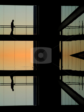 Modern stock photo, Man in the modern buildind at sunset by Rui Vale de Sousa
