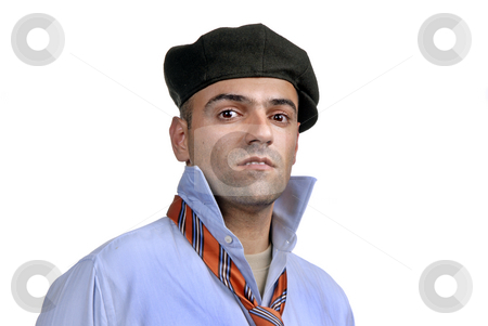 Man stock photo, Casual man portrait with hat in white background by Rui Vale de Sousa