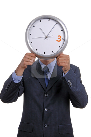 Clock stock photo, Caucasian man wearing suit holding clock in the head by Rui Vale de Sousa